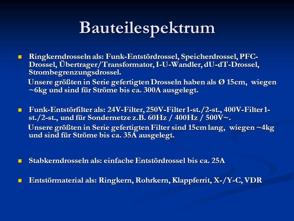 Bauteilespektrum Ringkerndrosseln als: Funk-Entstördrossel, Speicherdrossel, PFC- Drossel, Übertrager/Transformator, I-U-Wandler, dU-dT-Drossel, Strombegrenzungsdrossel.