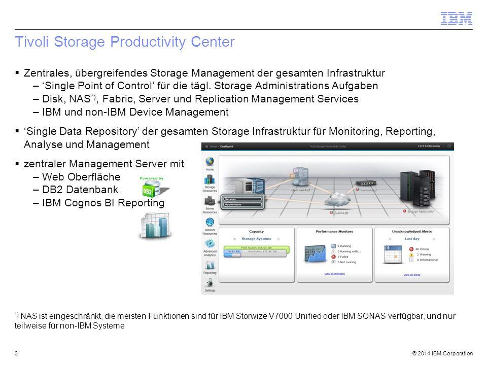 © 2014 IBM Corporation Auslastung in Bezug auf Performance 24 TPC Select SmartCloud Virtual Storage Center Spalte in jeder Tabelle verfügbar, die Informationen bzgl.
