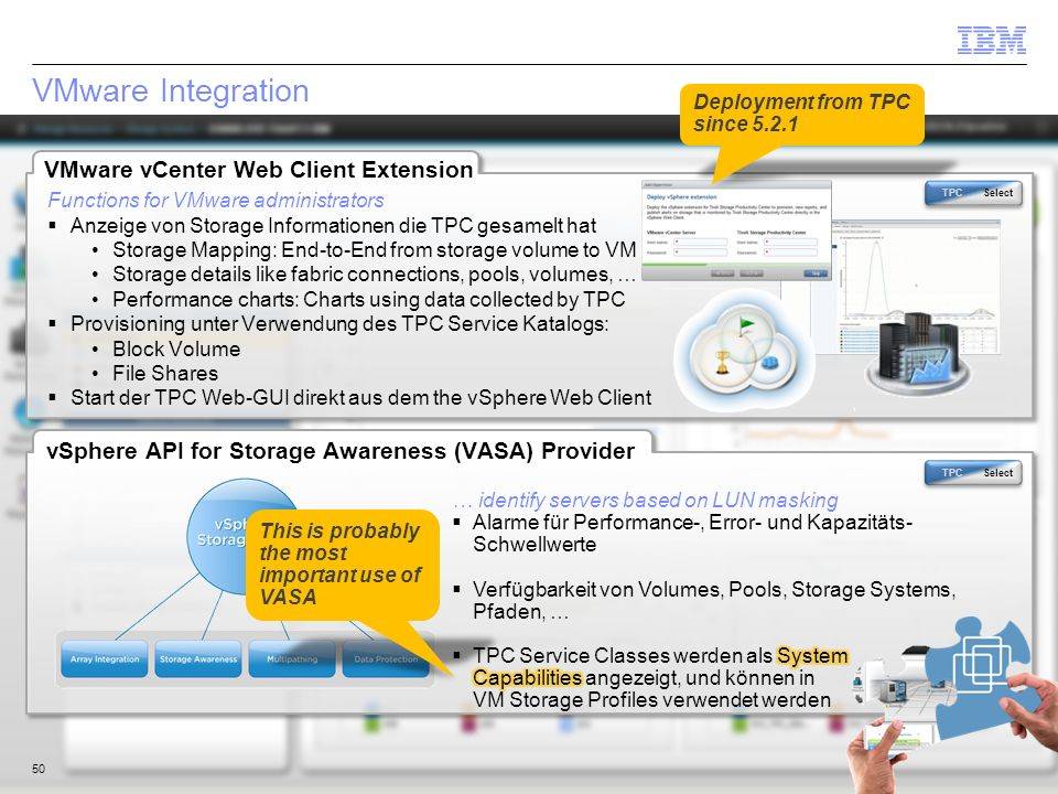 © 2014 IBM Corporation VMware Integration 50 vSphere API for Storage Awareness (VASA) Provider VMware vCenter Web Client Extension Functions for VMwar