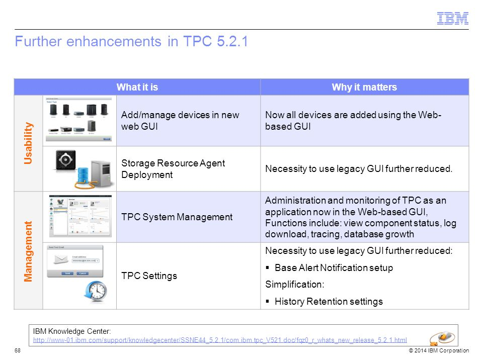 © 2014 IBM Corporation Further enhancements in TPC 5.2.1 68 What it isWhy it matters Add/manage devices in new web GUI Now all devices are added using