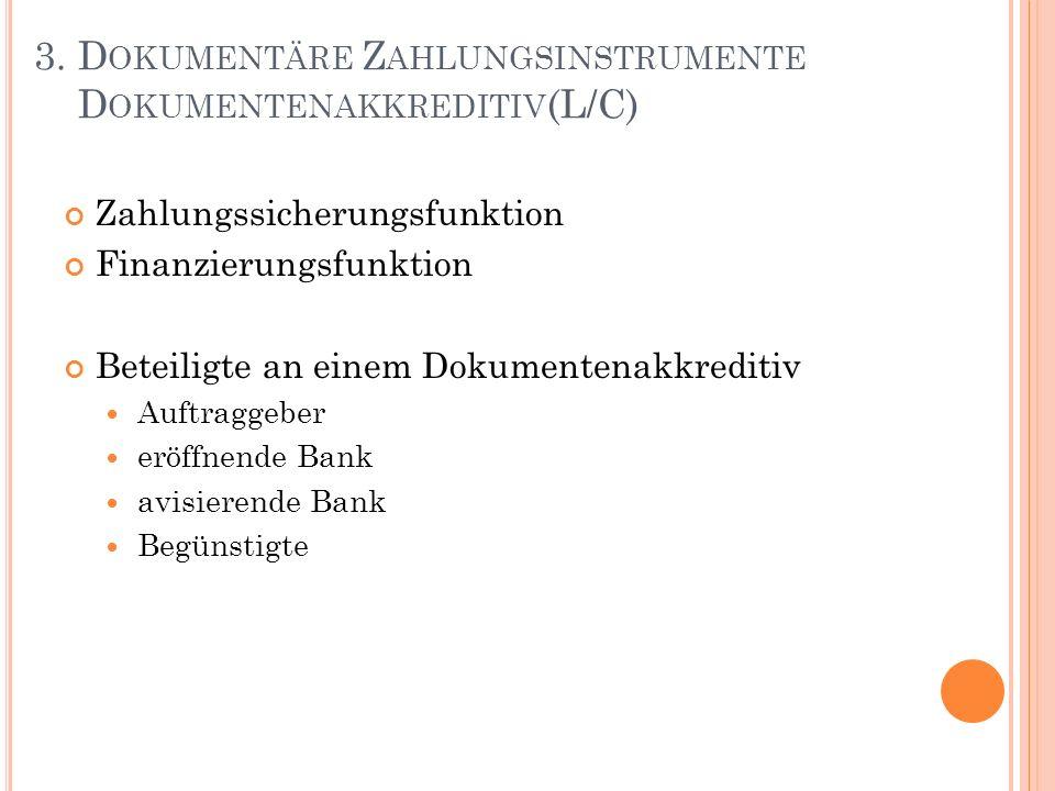 Zahlungssicherungsfunktion Finanzierungsfunktion Beteiligte an einem Dokumentenakkreditiv Auftraggeber eröffnende Bank avisierende Bank Begünstigte 3.
