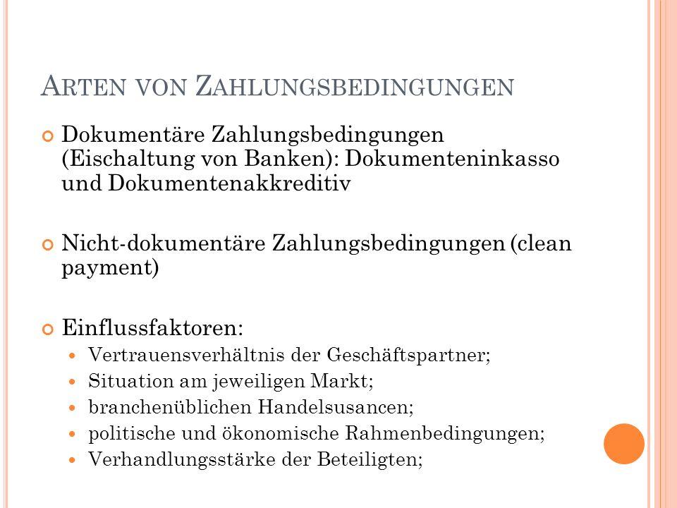 A RTEN VON Z AHLUNGSBEDINGUNGEN Dokumentäre Zahlungsbedingungen (Eischaltung von Banken): Dokumenteninkasso und Dokumentenakkreditiv Nicht-dokumentäre