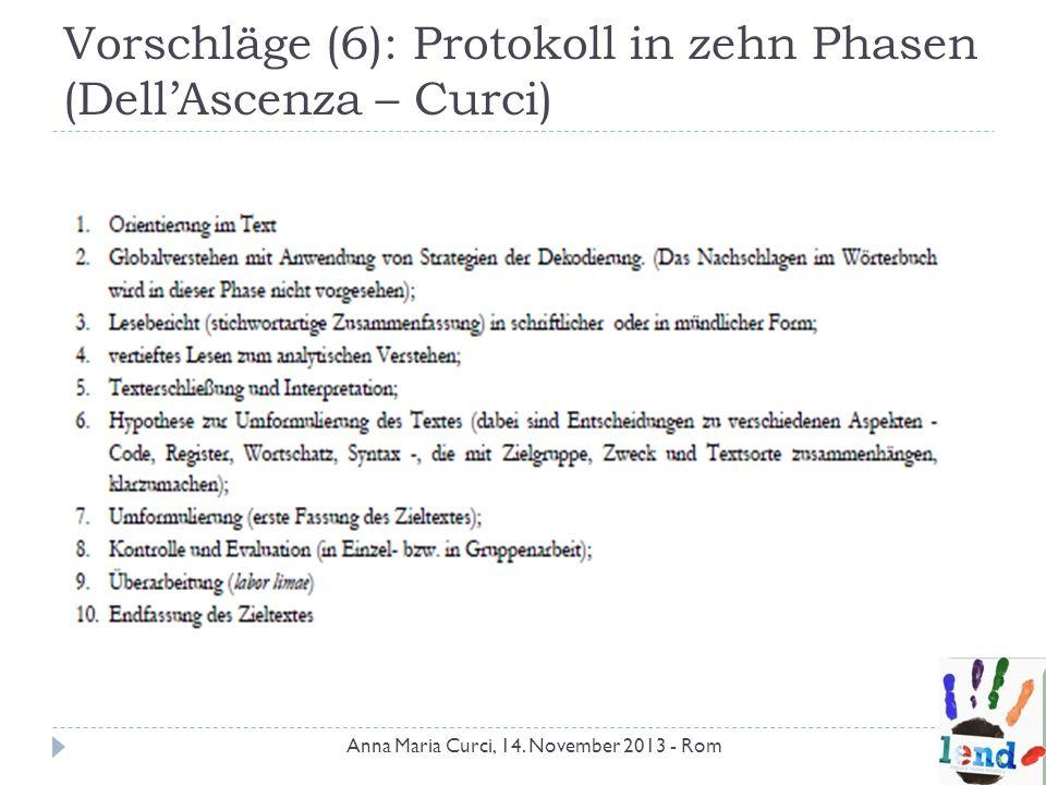 Vorschläge (6): Protokoll in zehn Phasen (DellAscenza – Curci) Anna Maria Curci, 14. November 2013 - Rom