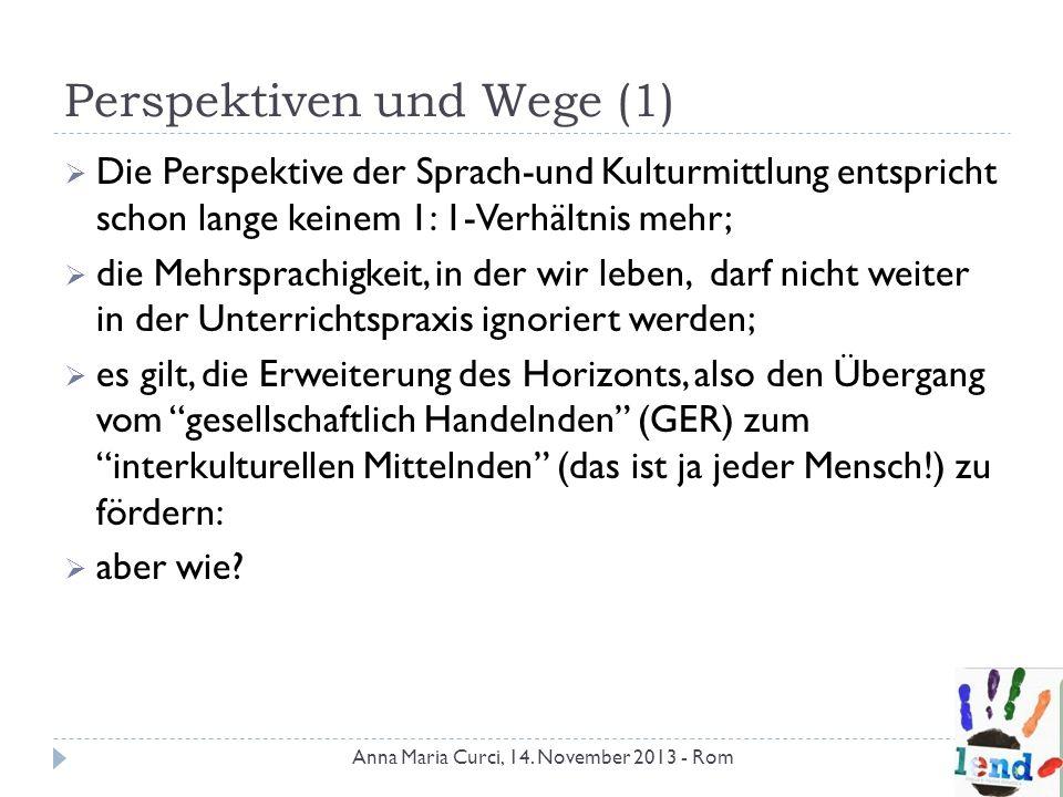 Perspektiven und Wege (1) Die Perspektive der Sprach-und Kulturmittlung entspricht schon lange keinem 1: 1-Verhältnis mehr; die Mehrsprachigkeit, in d