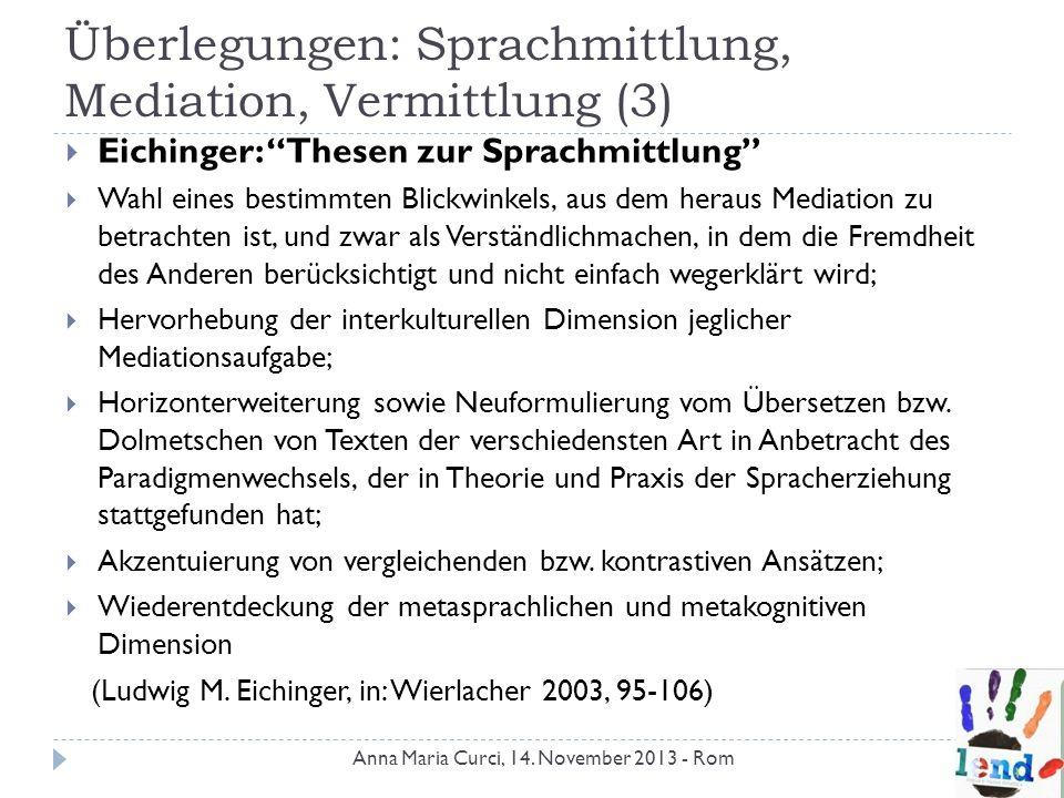 Überlegungen: Sprachmittlung, Mediation, Vermittlung (3) Eichinger: Thesen zur Sprachmittlung Wahl eines bestimmten Blickwinkels, aus dem heraus Media