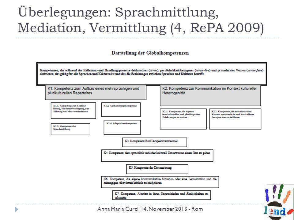 Überlegungen: Sprachmittlung, Mediation, Vermittlung (4, RePA 2009) Anna Maria Curci, 14. November 2013 - Rom