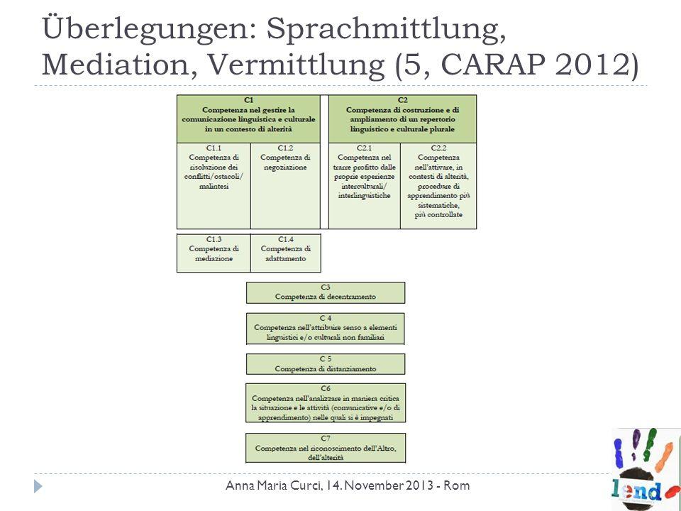 Überlegungen: Sprachmittlung, Mediation, Vermittlung (5, CARAP 2012) Anna Maria Curci, 14. November 2013 - Rom