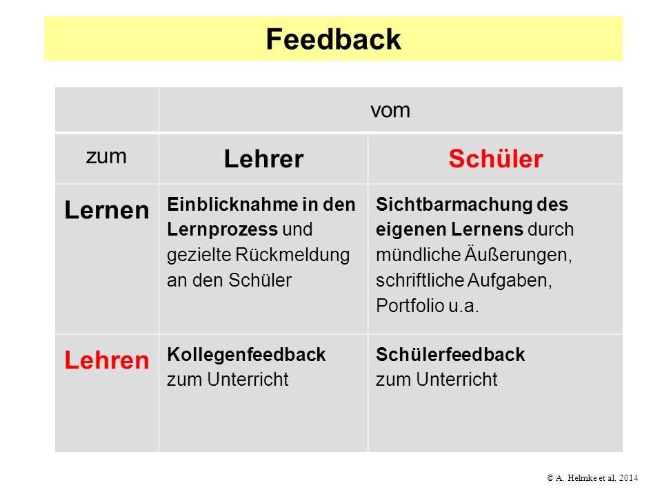 © A. Helmke et al. 2014 vom zum LehrerSchüler Lernen Einblicknahme in den Lernprozess und gezielte Rückmeldung an den Schüler Sichtbarmachung des eige