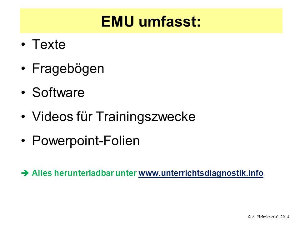 © A. Helmke et al. 2014 EMU umfasst: Texte Fragebögen Software Videos für Trainingszwecke Powerpoint-Folien Alles herunterladbar unter www.unterrichts