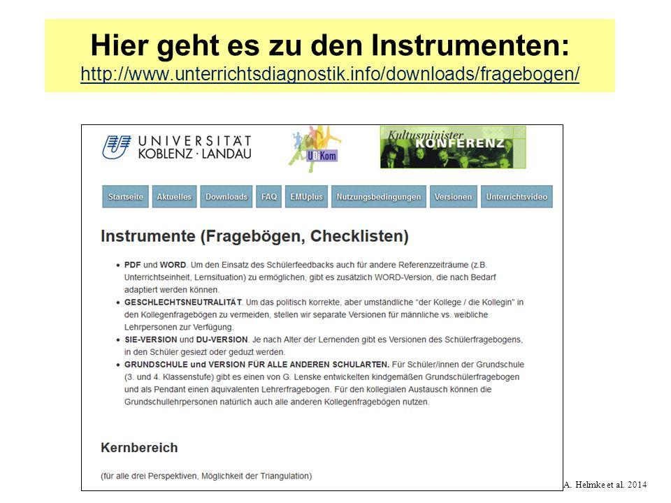 © A. Helmke et al. 2014 Hier geht es zu den Instrumenten: http://www.unterrichtsdiagnostik.info/downloads/fragebogen/ http://www.unterrichtsdiagnostik