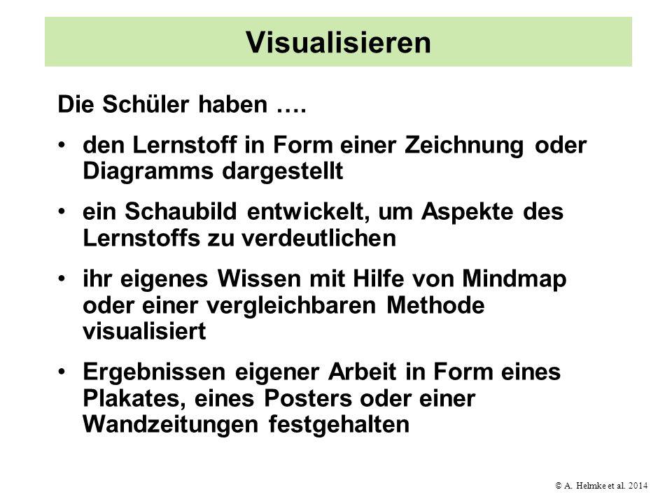 © A. Helmke et al. 2014 Visualisieren Die Schüler haben …. den Lernstoff in Form einer Zeichnung oder Diagramms dargestellt ein Schaubild entwickelt,