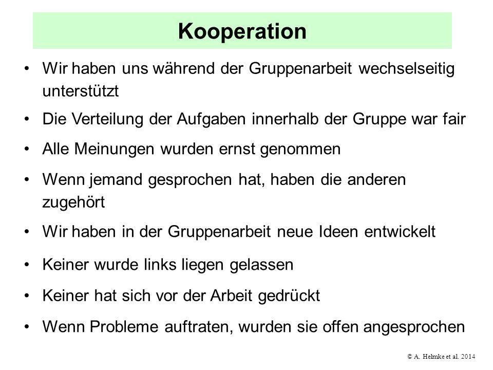 © A. Helmke et al. 2014 Kooperation Wir haben uns während der Gruppenarbeit wechselseitig unterstützt Die Verteilung der Aufgaben innerhalb der Gruppe