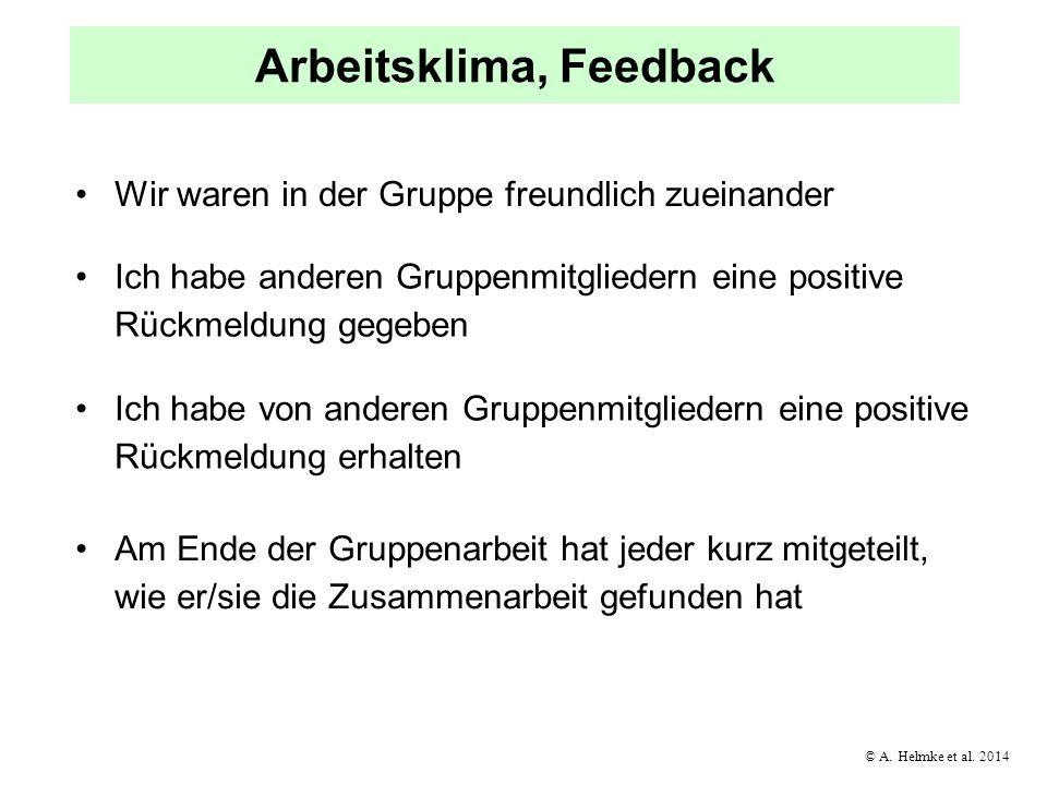 © A. Helmke et al. 2014 Arbeitsklima, Feedback Wir waren in der Gruppe freundlich zueinander Ich habe anderen Gruppenmitgliedern eine positive Rückmel