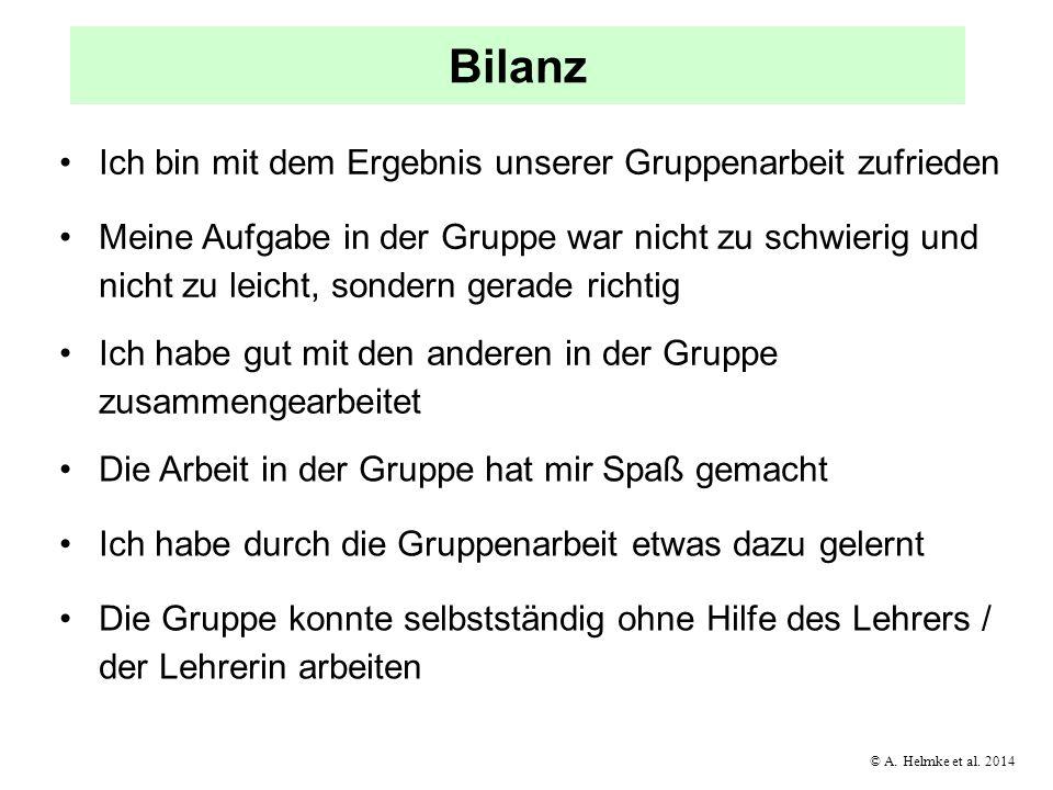 © A. Helmke et al. 2014 Bilanz Ich bin mit dem Ergebnis unserer Gruppenarbeit zufrieden Meine Aufgabe in der Gruppe war nicht zu schwierig und nicht z