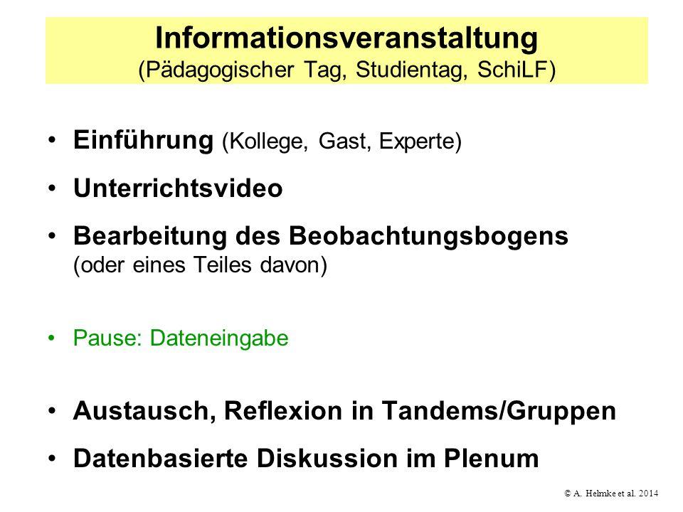 © A. Helmke et al. 2014 Informationsveranstaltung (Pädagogischer Tag, Studientag, SchiLF) Einführung (Kollege, Gast, Experte) Unterrichtsvideo Bearbei