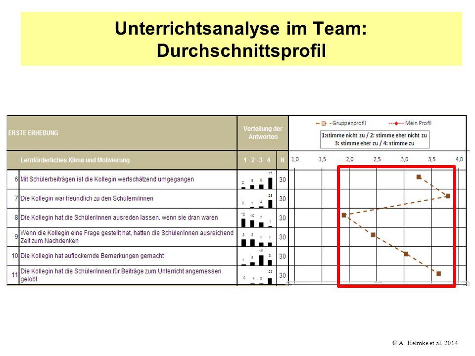© A. Helmke et al. 2014 Unterrichtsanalyse im Team: Durchschnittsprofil