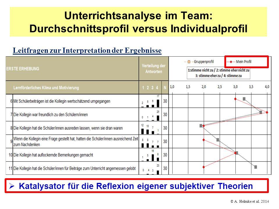 © A. Helmke et al. 2014 Unterrichtsanalyse im Team: Durchschnittsprofil versus Individualprofil Katalysator für die Reflexion eigener subjektiver Theo