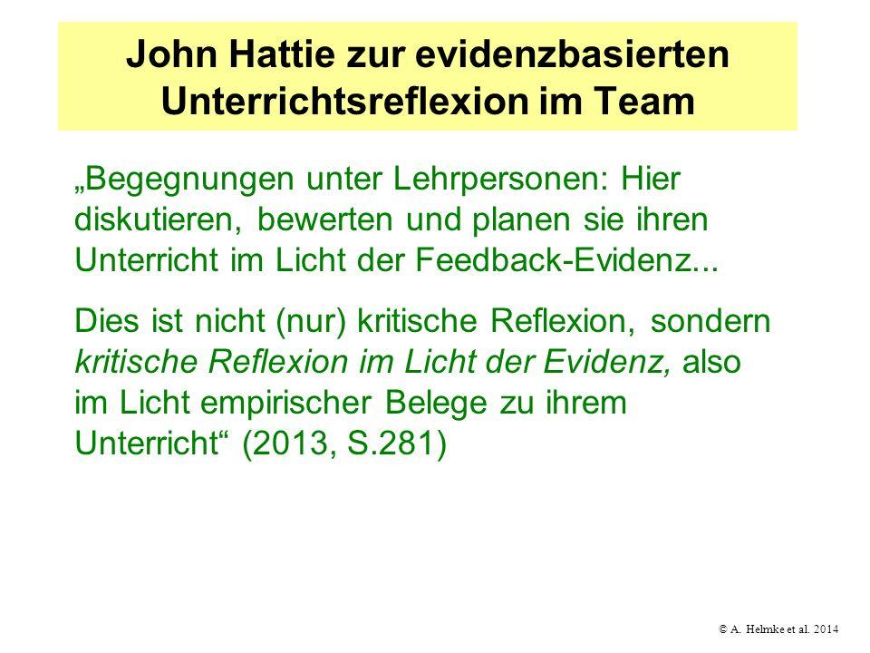 © A. Helmke et al. 2014 John Hattie zur evidenzbasierten Unterrichtsreflexion im Team Begegnungen unter Lehrpersonen: Hier diskutieren, bewerten und p