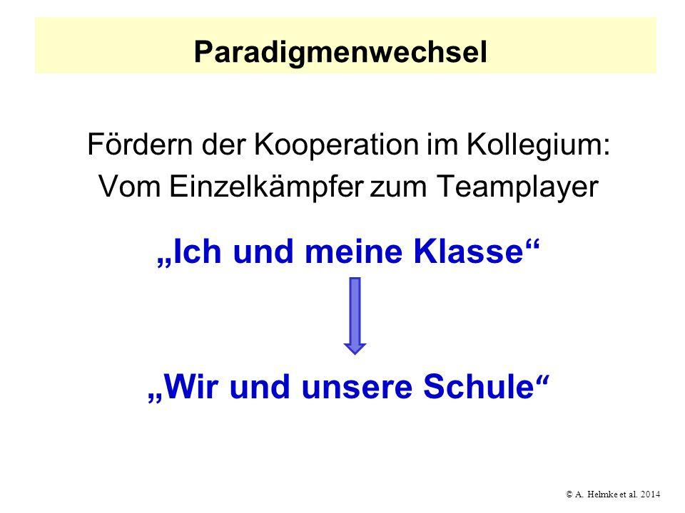© A. Helmke et al. 2014 Paradigmenwechsel Fördern der Kooperation im Kollegium: Vom Einzelkämpfer zum Teamplayer Ich und meine Klasse Wir und unsere S