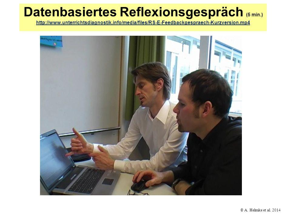 © A. Helmke et al. 2014 Datenbasiertes Reflexionsgespräch (5 min.) http://www.unterrichtsdiagnostik.info/media/files/RS-E-Feedbackgespraech-Kurzversio