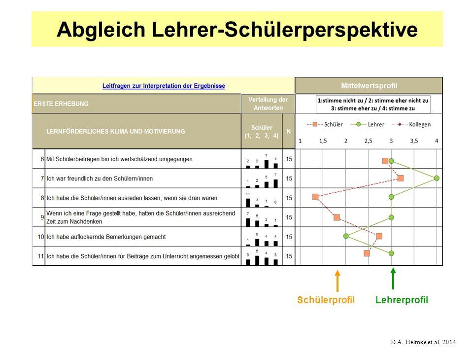 © A. Helmke et al. 2014 Abgleich Lehrer-Schülerperspektive LehrerprofilSchülerprofil