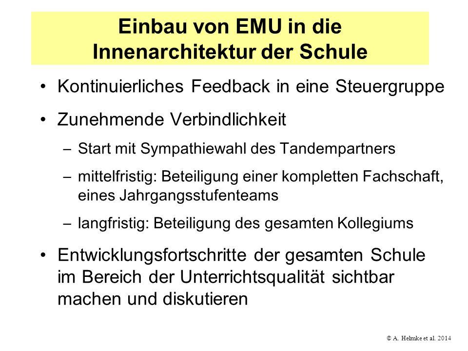 © A. Helmke et al. 2014 Einbau von EMU in die Innenarchitektur der Schule Kontinuierliches Feedback in eine Steuergruppe Zunehmende Verbindlichkeit –S