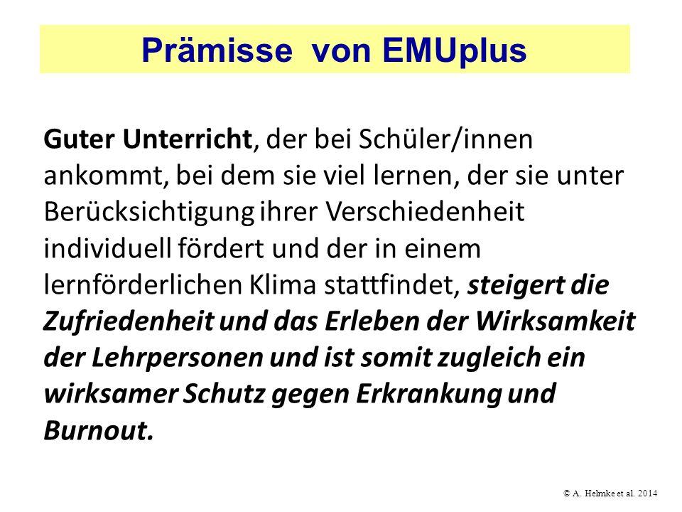 Prämisse von EMUplus Guter Unterricht, der bei Schüler/innen ankommt, bei dem sie viel lernen, der sie unter Berücksichtigung ihrer Verschiedenheit in