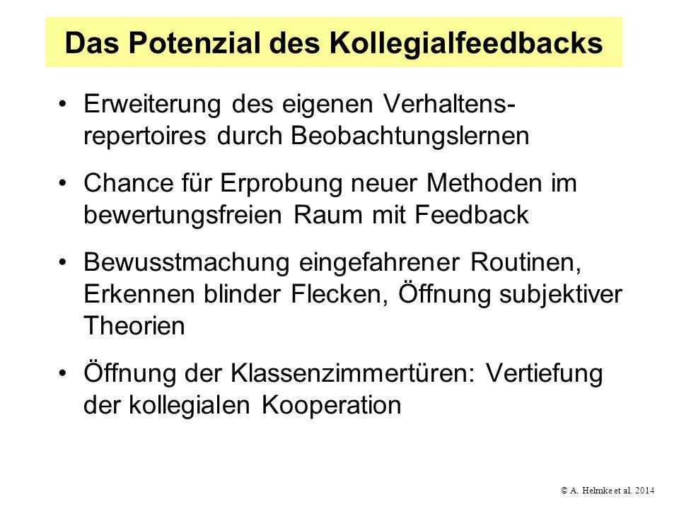 © A. Helmke et al. 2014 Das Potenzial des Kollegialfeedbacks Erweiterung des eigenen Verhaltens- repertoires durch Beobachtungslernen Chance für Erpro