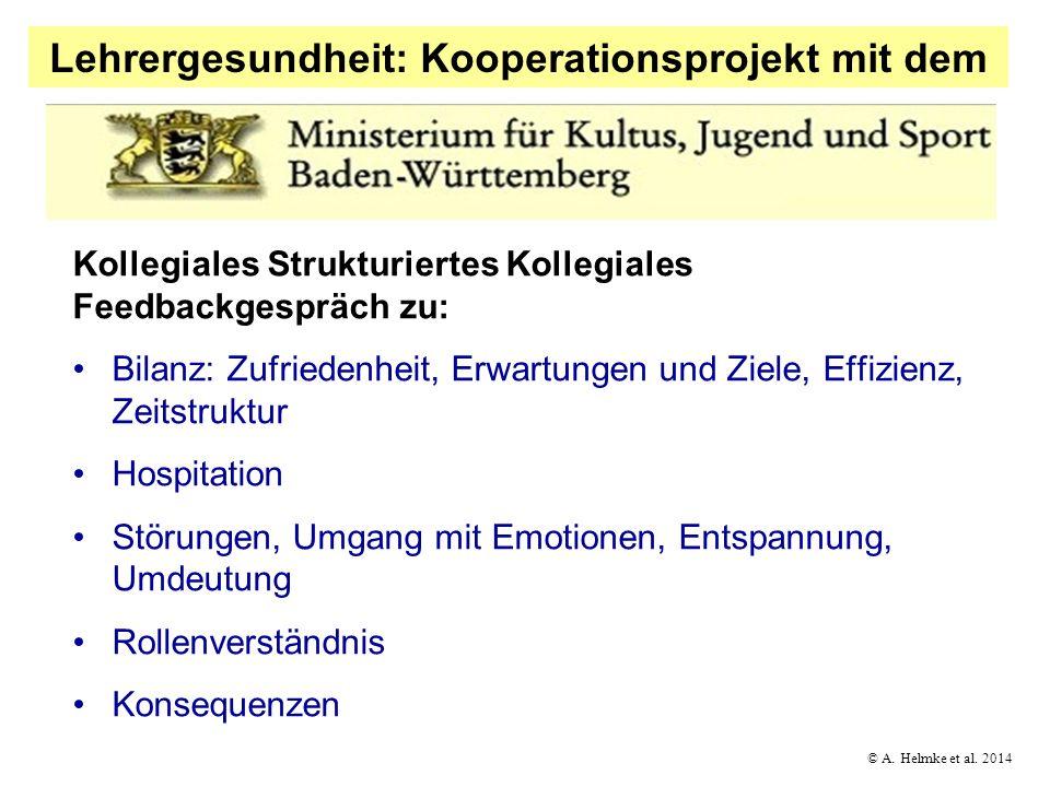 © A. Helmke et al. 2014 Lehrergesundheit: Kooperationsprojekt mit dem Kollegiales Strukturiertes Kollegiales Feedbackgespräch zu: Bilanz: Zufriedenhei