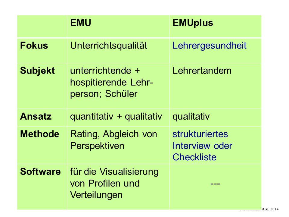 EMUEMUplus FokusUnterrichtsqualitätLehrergesundheit Subjektunterrichtende + hospitierende Lehr- person; Schüler Lehrertandem Ansatzquantitativ + quali