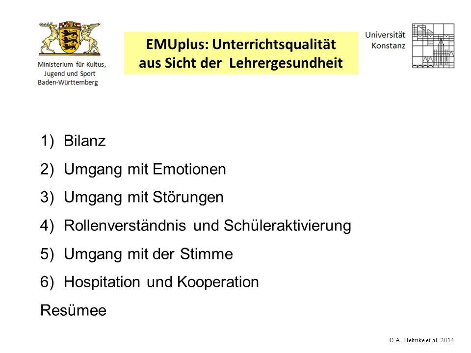 © A. Helmke et al. 2014 1)Bilanz 2)Umgang mit Emotionen 3)Umgang mit Störungen 4)Rollenverständnis und Schüleraktivierung 5)Umgang mit der Stimme 6)Ho