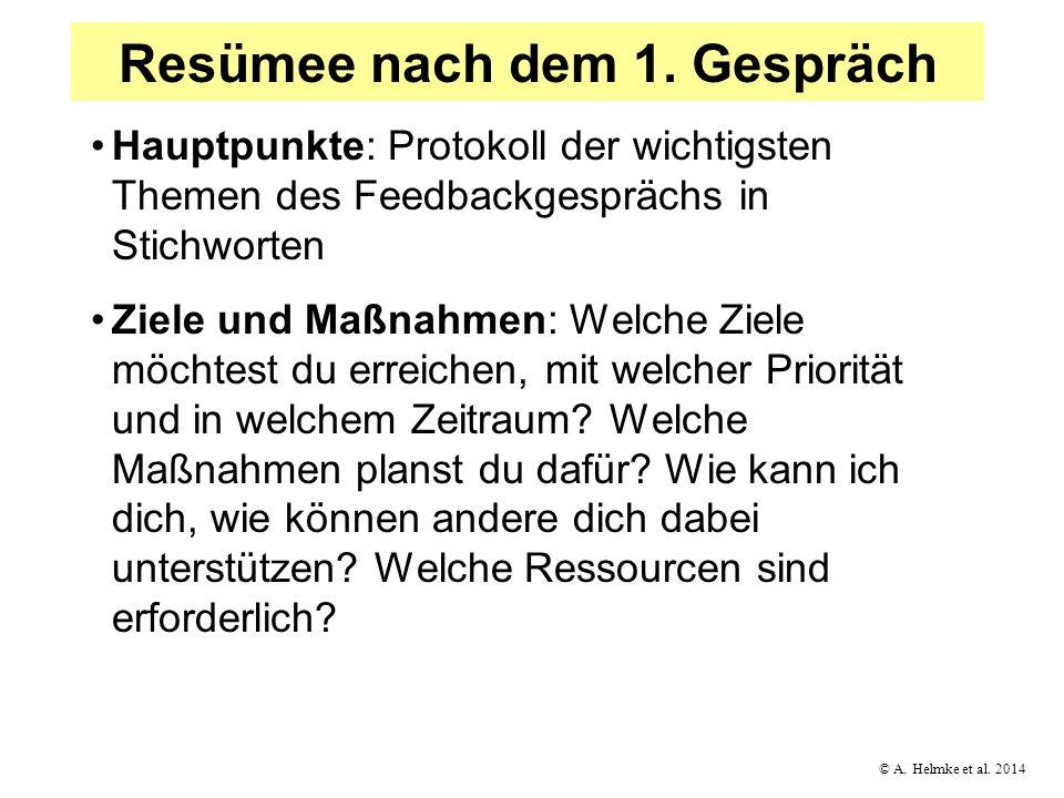 © A. Helmke et al. 2014 Resümee nach dem 1. Gespräch Hauptpunkte: Protokoll der wichtigsten Themen des Feedbackgesprächs in Stichworten Ziele und Maßn