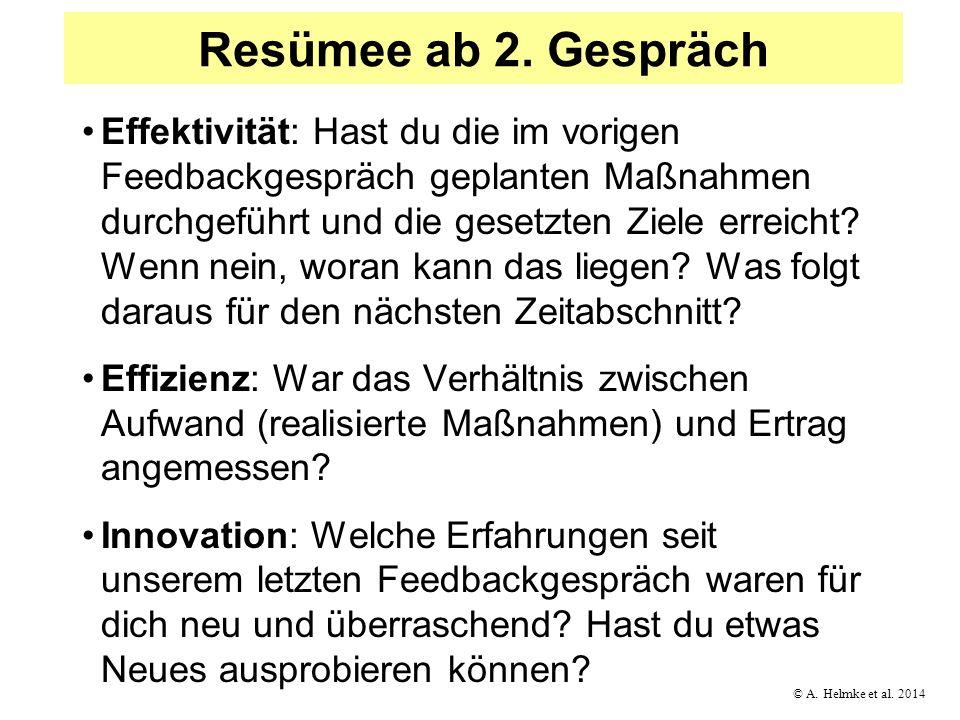 © A. Helmke et al. 2014 Resümee ab 2. Gespräch Effektivität: Hast du die im vorigen Feedbackgespräch geplanten Maßnahmen durchgeführt und die gesetzte