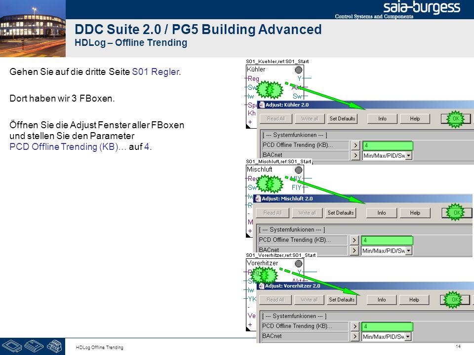14 HDLog Offline Trending DDC Suite 2.0 / PG5 Building Advanced HDLog – Offline Trending Gehen Sie auf die dritte Seite S01 Regler. Dort haben wir 3 F