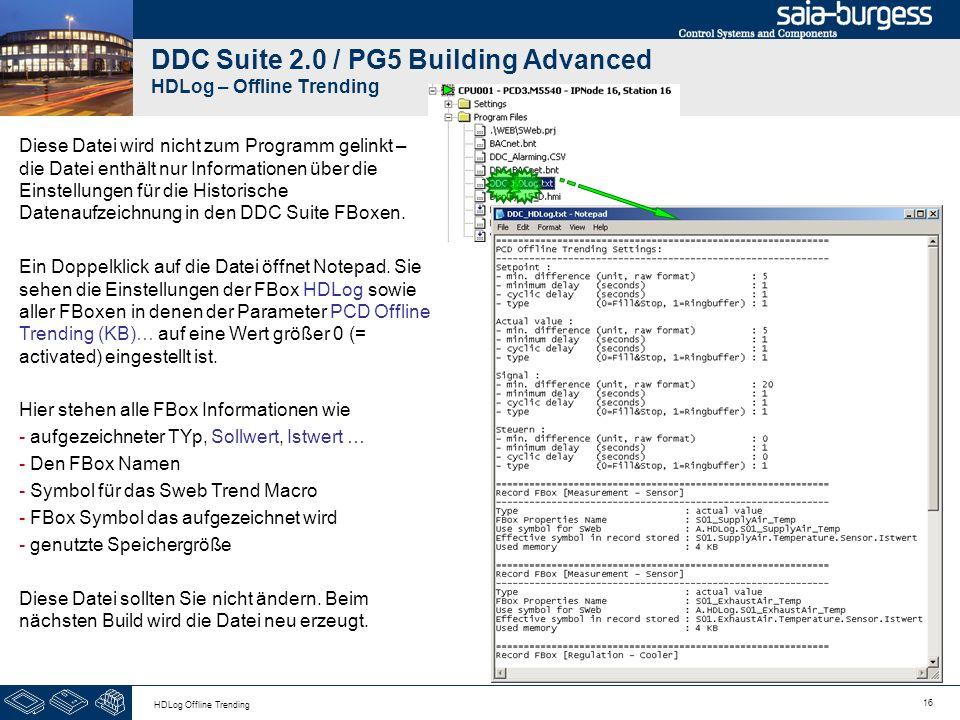 16 HDLog Offline Trending DDC Suite 2.0 / PG5 Building Advanced HDLog – Offline Trending Diese Datei wird nicht zum Programm gelinkt – die Datei enthä