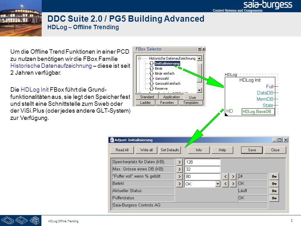 2 HDLog Offline Trending DDC Suite 2.0 / PG5 Building Advanced HDLog – Offline Trending Um die Offline Trend Funktionen in einer PCD zu nutzen benötig