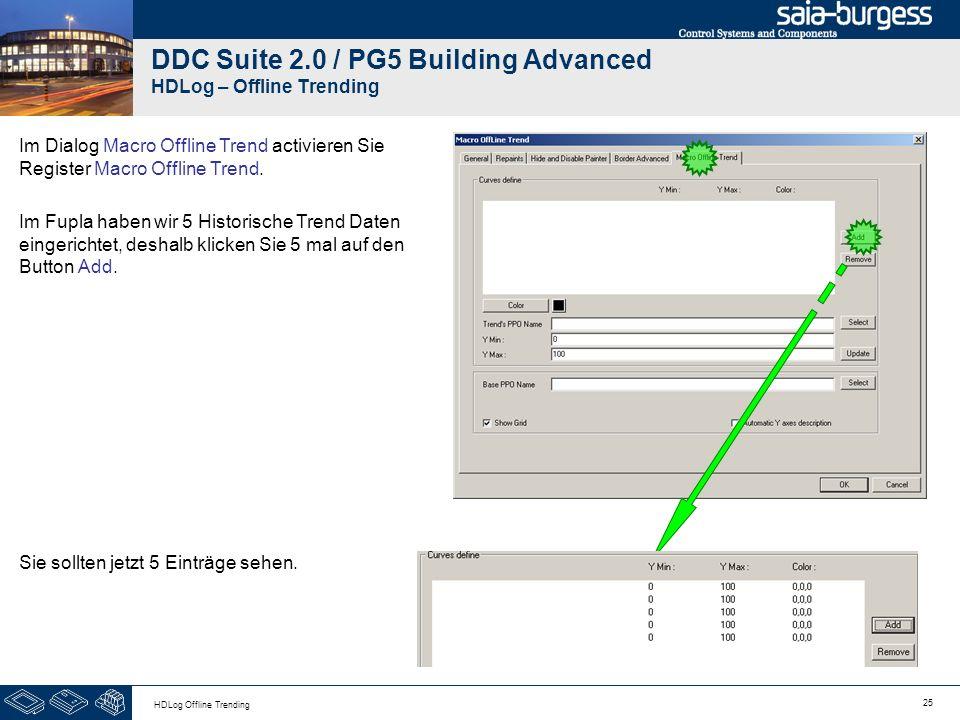 25 HDLog Offline Trending DDC Suite 2.0 / PG5 Building Advanced HDLog – Offline Trending Im Dialog Macro Offline Trend activieren Sie Register Macro O