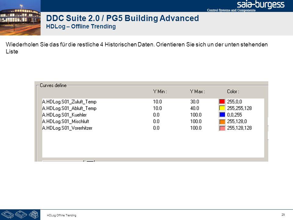 29 HDLog Offline Trending DDC Suite 2.0 / PG5 Building Advanced HDLog – Offline Trending Wiederholen Sie das für die restliche 4 Historischen Daten. O