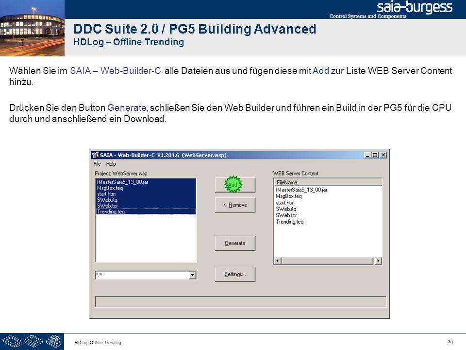 35 HDLog Offline Trending DDC Suite 2.0 / PG5 Building Advanced HDLog – Offline Trending Wählen Sie im SAIA – Web-Builder-C alle Dateien aus und fügen