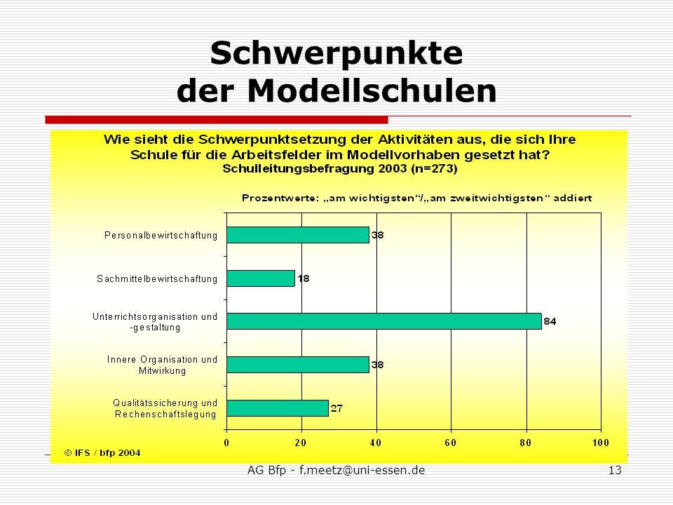 AG Bfp - f.meetz@uni-essen.de13 Schwerpunkte der Modellschulen