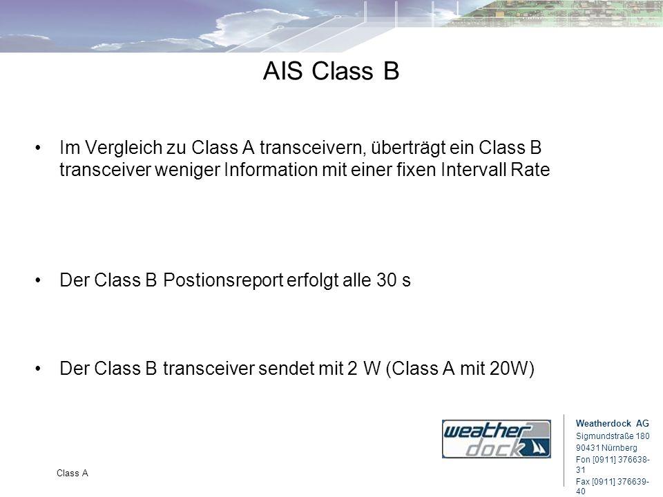 Weatherdock AG Sigmundstraße 180 90431 Nürnberg Fon [0911] 376638- 31 Fax [0911] 376639- 40 Class A AIS Class B Im Vergleich zu Class A transceivern,