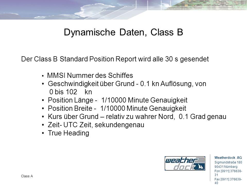 Weatherdock AG Sigmundstraße 180 90431 Nürnberg Fon [0911] 376638- 31 Fax [0911] 376639- 40 Class A Dynamische Daten, Class B Der Class B Standard Pos
