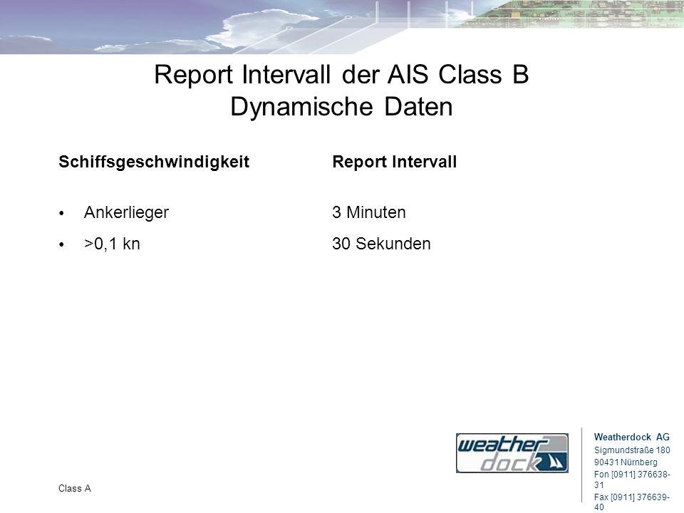 Weatherdock AG Sigmundstraße 180 90431 Nürnberg Fon [0911] 376638- 31 Fax [0911] 376639- 40 Class A Report Intervall der AIS Class B Dynamische Daten
