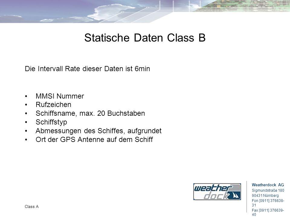 Weatherdock AG Sigmundstraße 180 90431 Nürnberg Fon [0911] 376638- 31 Fax [0911] 376639- 40 Class A Statische Daten Class B Die Intervall Rate dieser