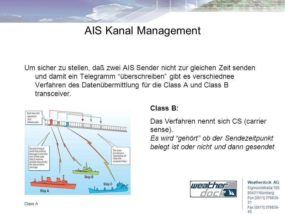 Weatherdock AG Sigmundstraße 180 90431 Nürnberg Fon [0911] 376638- 31 Fax [0911] 376639- 40 Class A AIS Kanal Management Um sicher zu stellen, daß zwe