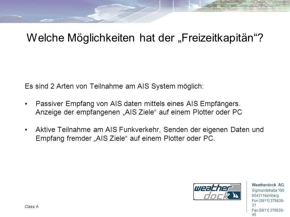 Weatherdock AG Sigmundstraße 180 90431 Nürnberg Fon [0911] 376638- 31 Fax [0911] 376639- 40 Class A Welche Möglichkeiten hat der Freizeitkapitän? Es s