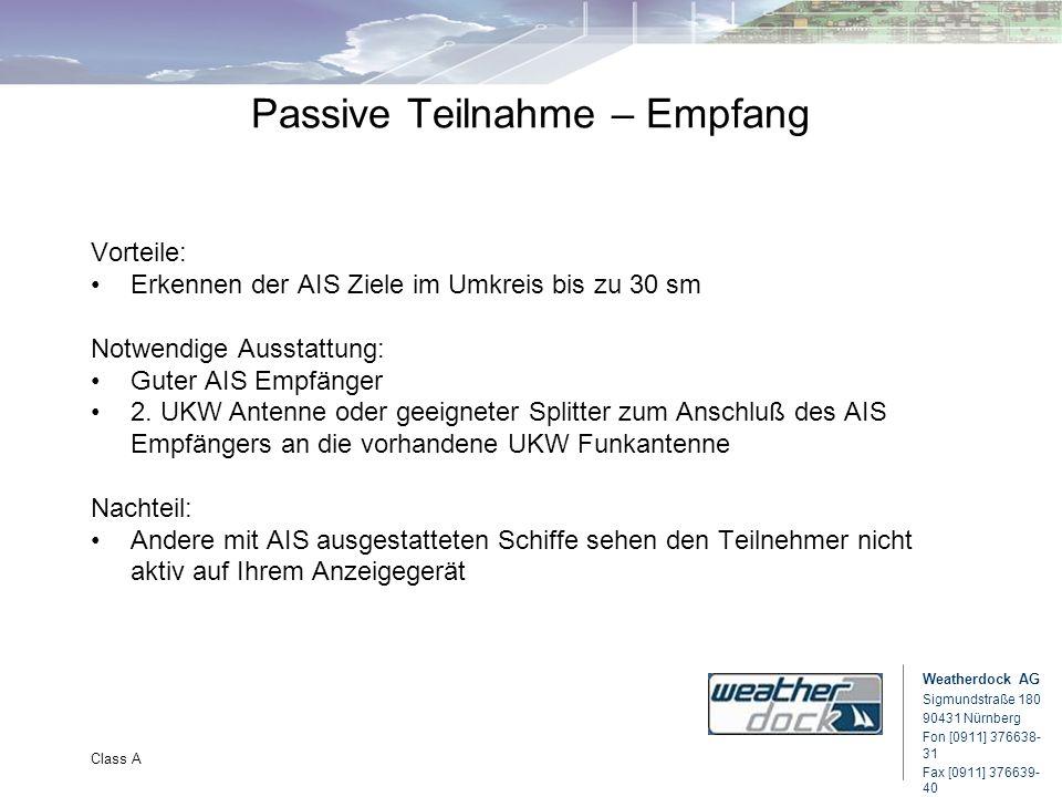 Weatherdock AG Sigmundstraße 180 90431 Nürnberg Fon [0911] 376638- 31 Fax [0911] 376639- 40 Class A Passive Teilnahme – Empfang Vorteile: Erkennen der