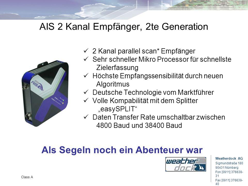 Weatherdock AG Sigmundstraße 180 90431 Nürnberg Fon [0911] 376638- 31 Fax [0911] 376639- 40 Class A AIS 2 Kanal Empfänger, 2te Generation 2 Kanal para