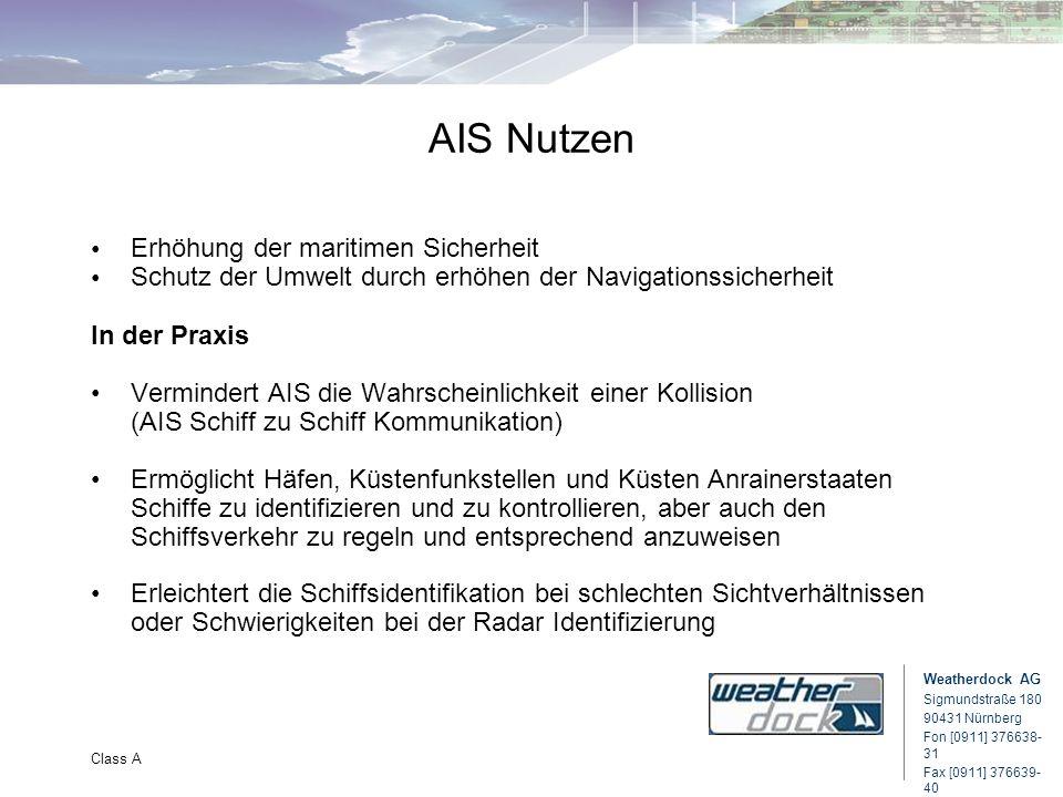 Weatherdock AG Sigmundstraße 180 90431 Nürnberg Fon [0911] 376638- 31 Fax [0911] 376639- 40 Class A AIS Nutzen Erhöhung der maritimen Sicherheit Schut