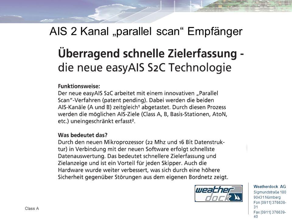 Weatherdock AG Sigmundstraße 180 90431 Nürnberg Fon [0911] 376638- 31 Fax [0911] 376639- 40 Class A AIS 2 Kanal parallel scan Empfänger